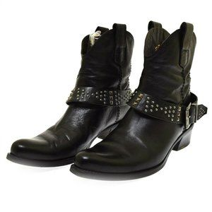 Alberto Fermani Black Leather Ankle Women's Boots 40 US 10 Removable Strap